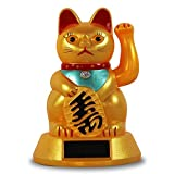 Solar Winkekatze Glückskatze Katze Reichtum Maneki Neko Feng Shui Glücksbringer