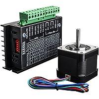 Quimat TB6600 Stepper Motor Driver 32 Segments 4A 40V 57/86 + Nema 17 Stepper Motor 1.7A/24V 0.4Nm (56.2oz.in) 40mm for 3D Printer