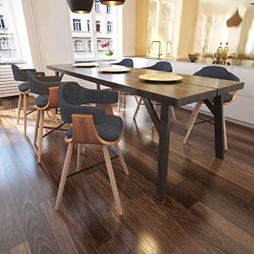 Lingjiushopping 6Stück Stühle Esszimmer aus Holz geschwungen und Stoff grau Farbe: Grau dunkel Material: Gestell aus Holz von Nussbaum + Beine Buche + Füllung Frottee + Bezug aus Stoff (Aus Nussbaum Tisch Stoff)