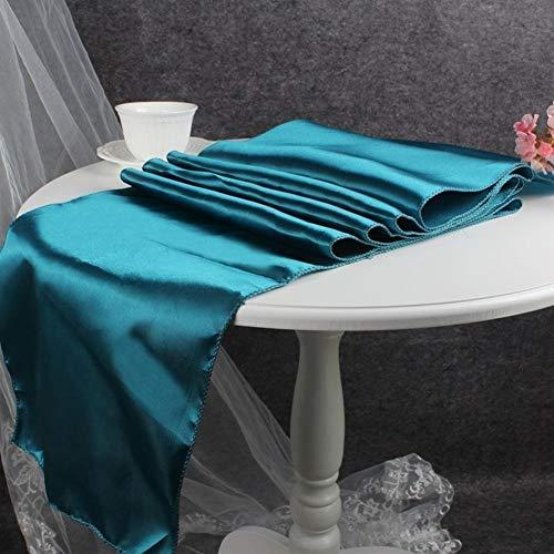 Xyydn 30x275 cm Moderne Einfache Satin Tischläufer Abdeckung Tischdekoration Hochzeit Tischläufer Tuch 15 Farben for Zuhause (Color : Teal Blue, Size : 30x275cm)