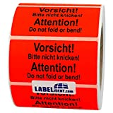 Aufkleber - Vorsicht! Bitte nicht knicken! Attention! - 100 x 50 mm - 1000 Stück auf Rolle, leuchtrot, permanent haftend - Versandetikett, Warnetikett, Paketaufkleber