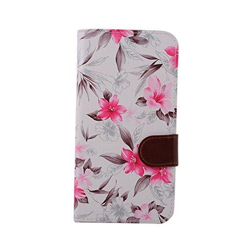 Voguecase® für Apple iphone 5 5G 5S hülle,(Wasserzeichen/Beige) Kunstleder Tasche PU Schutzhülle Tasche Leder Brieftasche Hülle Case Cover + Gratis Universal Eingabestift Weiß/Lilie