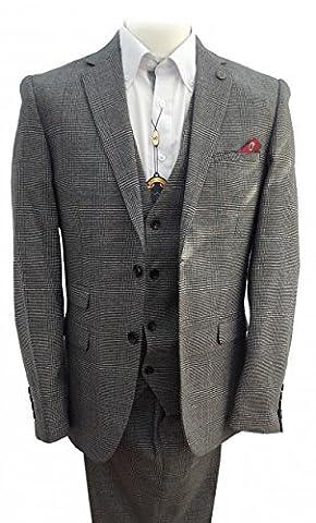 hommes Marc Darcy Vintage Tweed à carreaux 3 Combinaison une pièce - James gris - Gris, Chest UK 52(132cm) - Waist UK W44