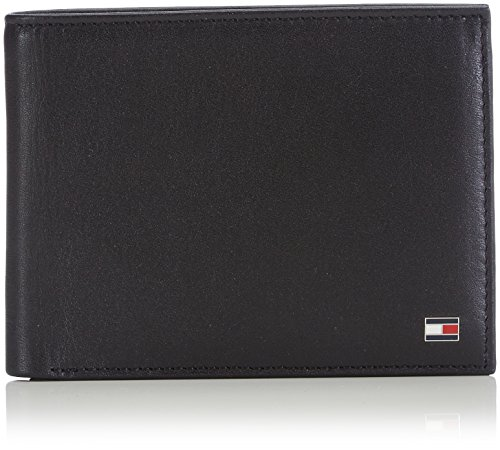 Tommy hilfiger eton cc and coin pocket, porta carte di credito uomo, nero, 75 cm