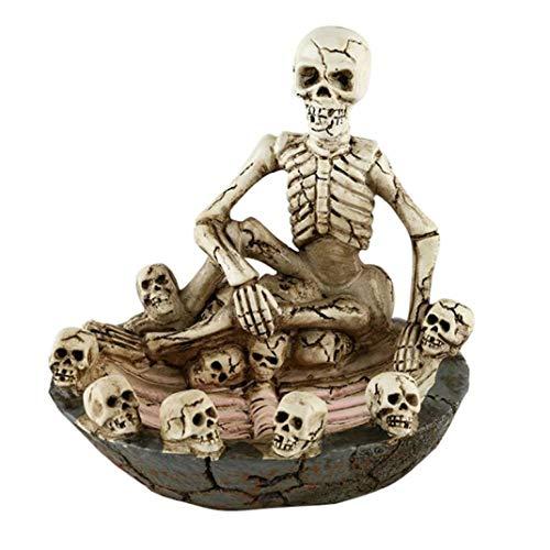 ZENEGO Harz-Skelett-Aschenbecher-tragbarer kreativer Schädel-Knochen-Tabakbehälter für die Haupttischplatte dekorativ