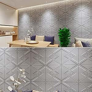 Hamkaw 3D Self-Adhesive Wall Panels,3D Decorative Textured ...