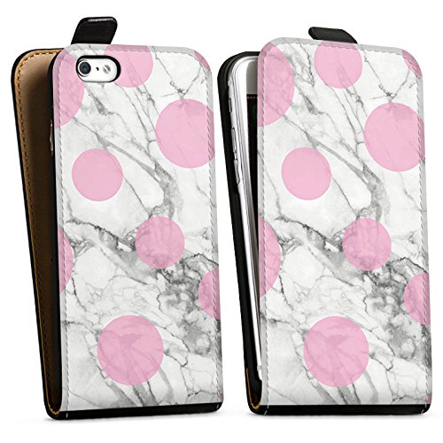 Apple iPhone X Silikon Hülle Case Schutzhülle Marmor Look Marble Punkte Downflip Tasche schwarz