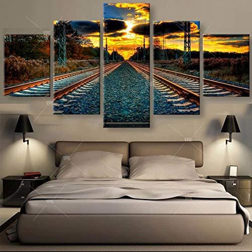 TAOZIQH Wandkunst Leinwand Malerei Wohnzimmer Der Sonnenuntergang Poster Rahmen 5 Panel Track Modulare Gedruckt Cuadros Dekoration Bilder (Panel-track)