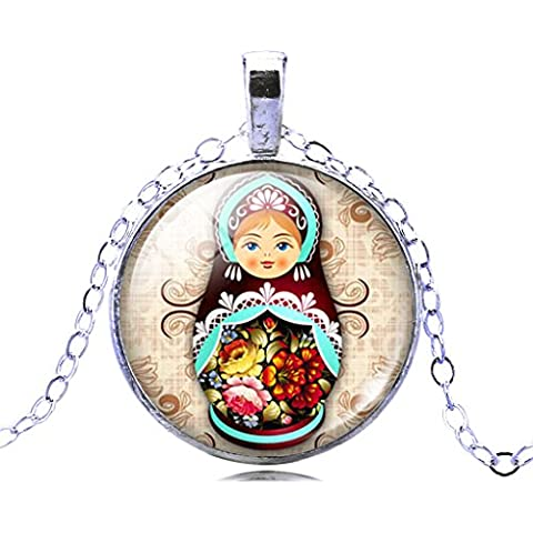 Jiayiqi Joyería Mujeres Bonitas A Ruso Muñeca Gema Declaración Cadena Collar De Anidación