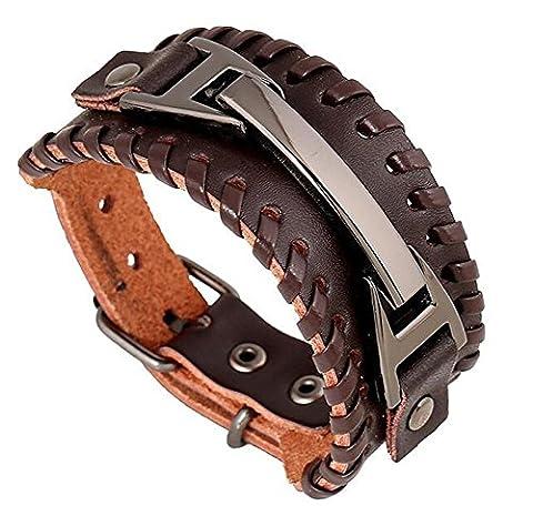 TJeanny Lederarmband Bracelet Fashion Wickel Armband Armreifen Surfer Leder Legierung Damen Herren