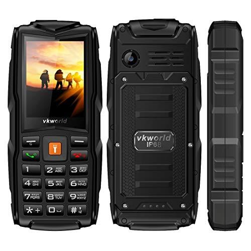 Mobiltelefon VKworld New Stone V3, Triple SIM, IP68, wasserdicht, stoßfest, staubdicht, 3000mAh, 2,4 Zoll, SC6531CA-Chipet, 21 Tasten, LED-Taschenlampe, FM, TF, russische Tastatur (Farbe : Schwarz)