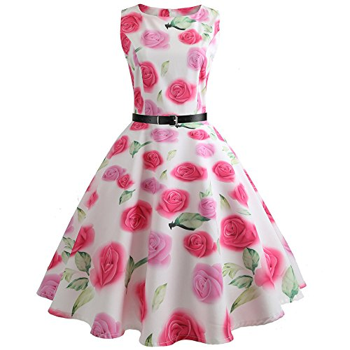 Damen Casual Langes Shirt Lose Tunika Kurzarm T-Shirt Kleid Women's Sleeveless Striped Skirt Vintage Retro Swing Pleat Midi Dress -
