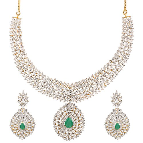 Swasti Jewels American Diamond CZ Zircon Fashion Jewellery Set Necklace Earrings for Women