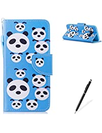 MAGQI Samasung Galaxy S8 PU Premium Leather Phone Cases, Flowers Panda Unicorn Cartoon Pattern Design Cover and [Scratch Proof] Flexible For Samasung Galaxy S8 Flip Wallet Shell-Cute Panda