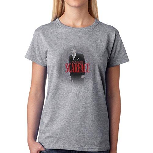 Antonio Montana Scarface All Pacino Damen T-Shirt Grau