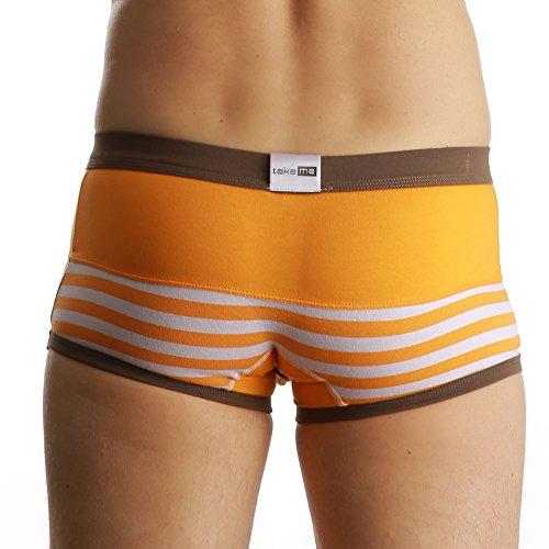 take me |Boxer Shorts|Hipster Short|trendig viele Styles |weich und hautfreundlich |Halt und formgebend für den Penis |Klimafunktion|Top Preis Leistung |Die Wäschemarke für Ihn und sein gutes Stück. orange B0825