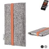 flat.design Handy Hülle Coimbra für Allview X4 Soul Mini S - Schutz Case Tasche Filz Made in Germany hellgrau orange