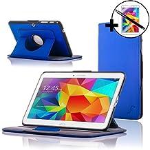 Forefront Cases® Samsung Galaxy Tab 4 10.1 SM-T530 Funda Carcasa Stand Smart Case Cover Protectora Giratorio de Cuero – Función automática inteligente de Suspensión/Encendido + Lápiz óptico y protector de pantalla