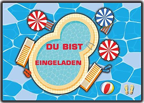 Poolparty Schwimmen Einladungskarten Kindergeburtstag Schwimmbad Einladung für Jungen Mädchen 12er Set