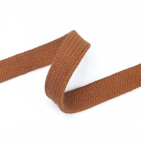 Sweatshirt Hoodie Flat Cotton Tape Ribbon Cord Rope,10 & 15mm,Garment Drawstring. Multi Use For Apparel, Crafts Projects And Home Décor. Tan Brown 5m (15mm)