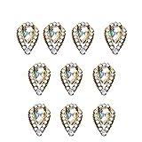 Babysbreath17 10pcs / Set 3D Glitter Cristal Nail Art Sticker Sequin Rétro métal Style Ovale Ronde Coeur Bijoux d'ongles Décoration Femmes Filles 828