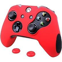 Pandaren® silicona grueso medio Fundas Protectores el mando Xbox One (rojo) x 1 + thumb grip x 2