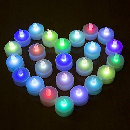 MAXAH® 24 pedazo de plástico LED de luz de la vela ligera de té / vela, 7 colores parpadean alternativamente - blanco / azul / verde / rojo / rosa / encender velas de color amarillo / púrpura estado de ánimo para sus vacaciones, Navidad / Año Nuevo / cumpleaños / Día de San Valentín / de la boda, etc. (cambio de color, modo de flash, un poco rápido)