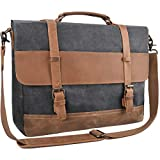 Mens Messenger Bag Waterproof Canvas Leather Computer Laptop Bag 15.6 Inch Briefcase Case