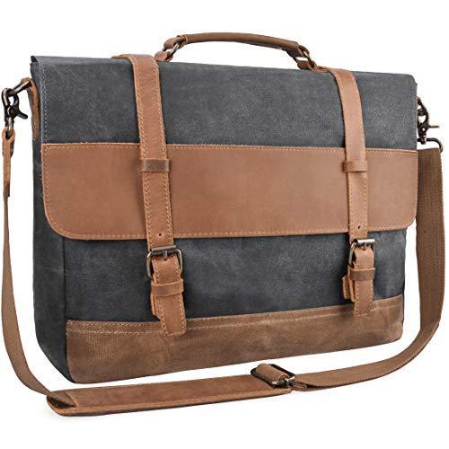 09a738e395 Mens Messenger Bag Waterproof Canvas Leather Computer Laptop Bag 15.6 Inch  Briefcase Case Vintage Waxed Canvas