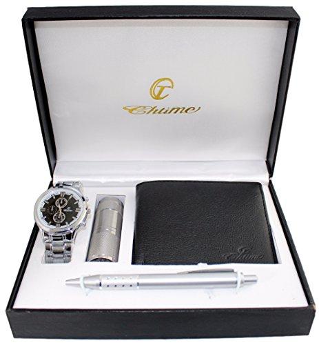 Confezione regalo da uomo orologio + portafoglio + penna + Torcia LED