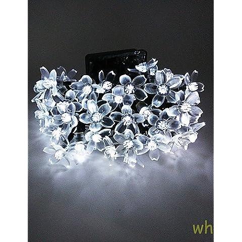 XMQC*7M 50LED Solar Fancy Flor de plástico impermeable Luces luces de cadena , verde-