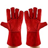 1Paar Rot Rindsleder Schweißen Handschuhe Long Heavy Duty Schutz Handschuhe Extreme Hitze Verschleiß Resistant Grill, Kamin, Arbeit, Garten, BBQ, Backen Handschuhe oder Potholder