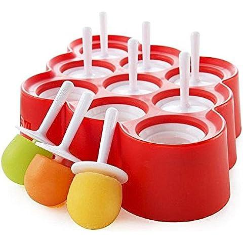 fpbs 9x Mini de Silicona Moldes Para Helados Popsicle Moldes–Ice Pop/sin BPA Stick Helados/lolly Maker Juego de herramientas, herramientas de perfecto para