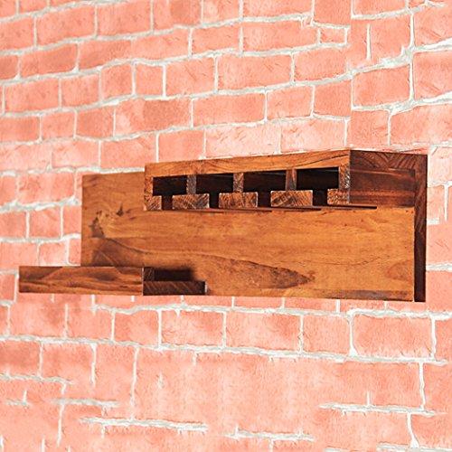 Europäische Wand-montiert Weinregal Restaurant retro Stemware Halter handgefertigte Holz hängende Weinregal Weinkühler (Paletten-weinregal, Wand-montiert)