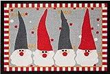 Bavaria-Home-Style-Collection Motiv Fußmatte Weihnachtswichtel rot/grau - 40 x 60 cm Waschbar Gemustert rutschfest Weihnachten