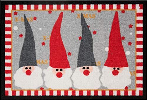 Bavaria Home Style Collection Motiv Fußmatte Weihnachtswichtel rot/grau - 40 x 60 cm Waschbar Gemustert rutschfest Weihnachten