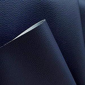 TOLKO Kunstleder Polsterstoff Meterware als Robuster Premium Bezugstoff/Möbelstoff zum Nähen und Beziehen, 140cm Breit (Dunkelblau)
