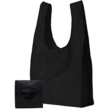 c934dfcc44f8 Reusable Shopping Bag, Lifetime Bags – Foldable Compact Rip Stop Nylon  Grocery Tote – Black