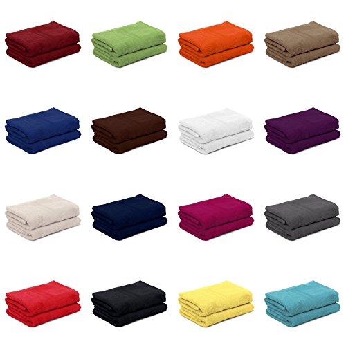 2er Pack zum Sparpreis, Frottier Handtuch-Serie - in 8 Größen und 16 Farben 100% Baumwolle 500 g/m², 2er Pack Handtücher (50x100 cm) in Schokobraun (Handtücher In Schokobraun)