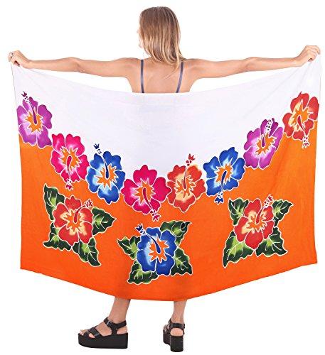 LA LEELA Wickeln Bademode verschleiern Badeanzug Badebekleidung Frauen Sarong Pool Abnutzungs Wrap Badeanzug Zeitkleidung Orange