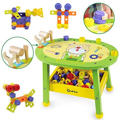 Onshine Werkbank Holz Kinder Werkzeug Spielzeug Holzspielzeug ab 3 Jahre Handwerkerset Geschenk Fuer Kinder