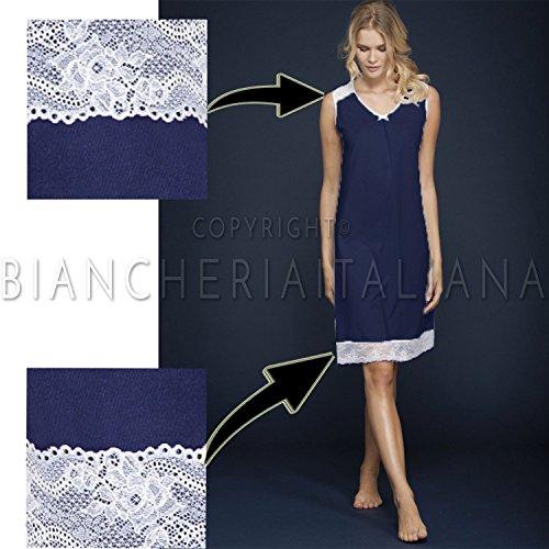 Ragno Camicia Notte Elegance in cotone Jersey Smanicata N11836 BLU