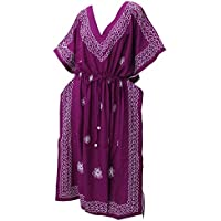 La Leela 5 in 1 caraibi costume bagno costume bagno beach party coprire indumenti letto vestito lungo casuale top tunica eccellente lisce rayon ricamato dell'abito più il kimono formato maxi donne