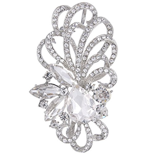 SELOVO Sparkle Vintage Style White Oval CZ Crystal Bridal Pin Brooch Pendant for Wedding Silver Tone Kc6wWA