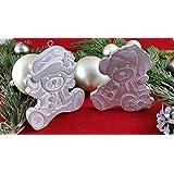 2 Stck. Beton, Steinguss Anhänger Anhänger Santa-Bären weiß patiniert. als Geschenk verpackt!