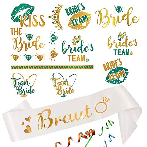 ut Schärpe + Bride / Team Bride Tattoo Set für Junggesellinnenabschied JGA Hochzeit Hen Party Accessoires Weiß Gold Türkis ()