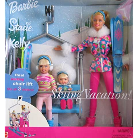 Barbie Stacie Kelly Skiing Vacation Doll Set w Working Chair Lift (2000) by Mattel