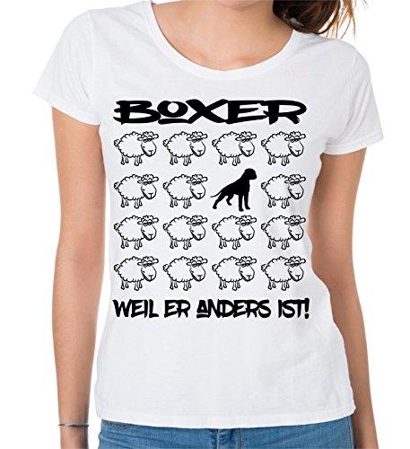 Siviwonder WOMEN T-Shirt BLACK SHEEP - BOXER deutscher - Hunde Fun Schaf Weiß