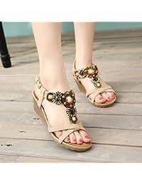 yalanshop Appartement plat bohème perlé confortable doux bois de santal femme été toe fond plat étudiants ethniques style chaussures de plage FZ74X5s