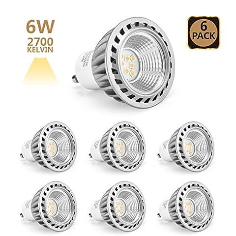Arvidsson GU10 Led 6W Lampe, ersetzt 50W Halogen lampen, Warmweiß 2700K 40 Grad Abstrahlwinkel Scheinwerfer LED Birnen Leuchtmittel 350lm Aluminum Reflektor-Gehäuse Energiesparlampe LED GU10 Birnen, 6er